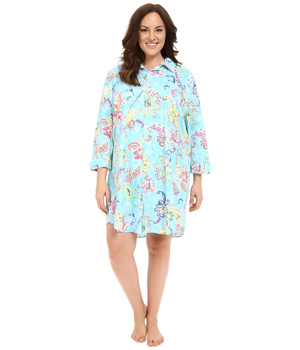 LAUREN Ralph Lauren - Plus Size Cotton Lawn Sleepshirt (Paisley Turquoise/Multi) Women's Pajama