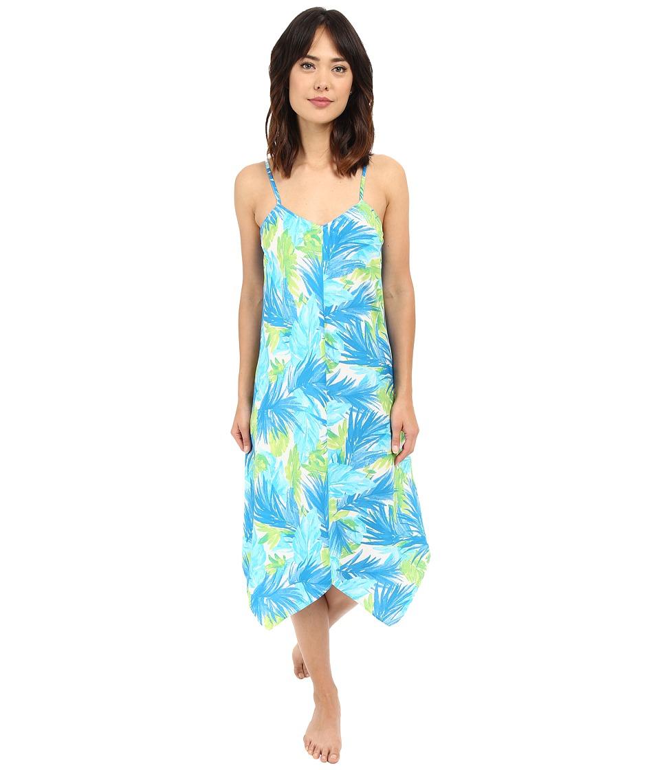 LAUREN Ralph Lauren - Cotton Lawn Maxi Gown (Palm Turquoise/Navy/Green) Women's Pajama