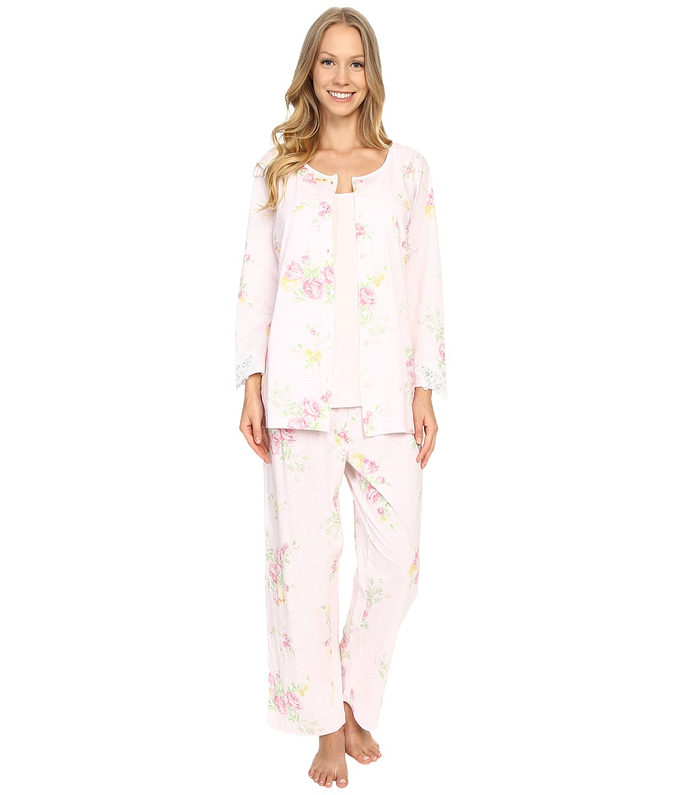 Carole Hochman - Three-Piece Capris Pajama Set (Prism Blushed Bouquets) Women's Pajama Sets