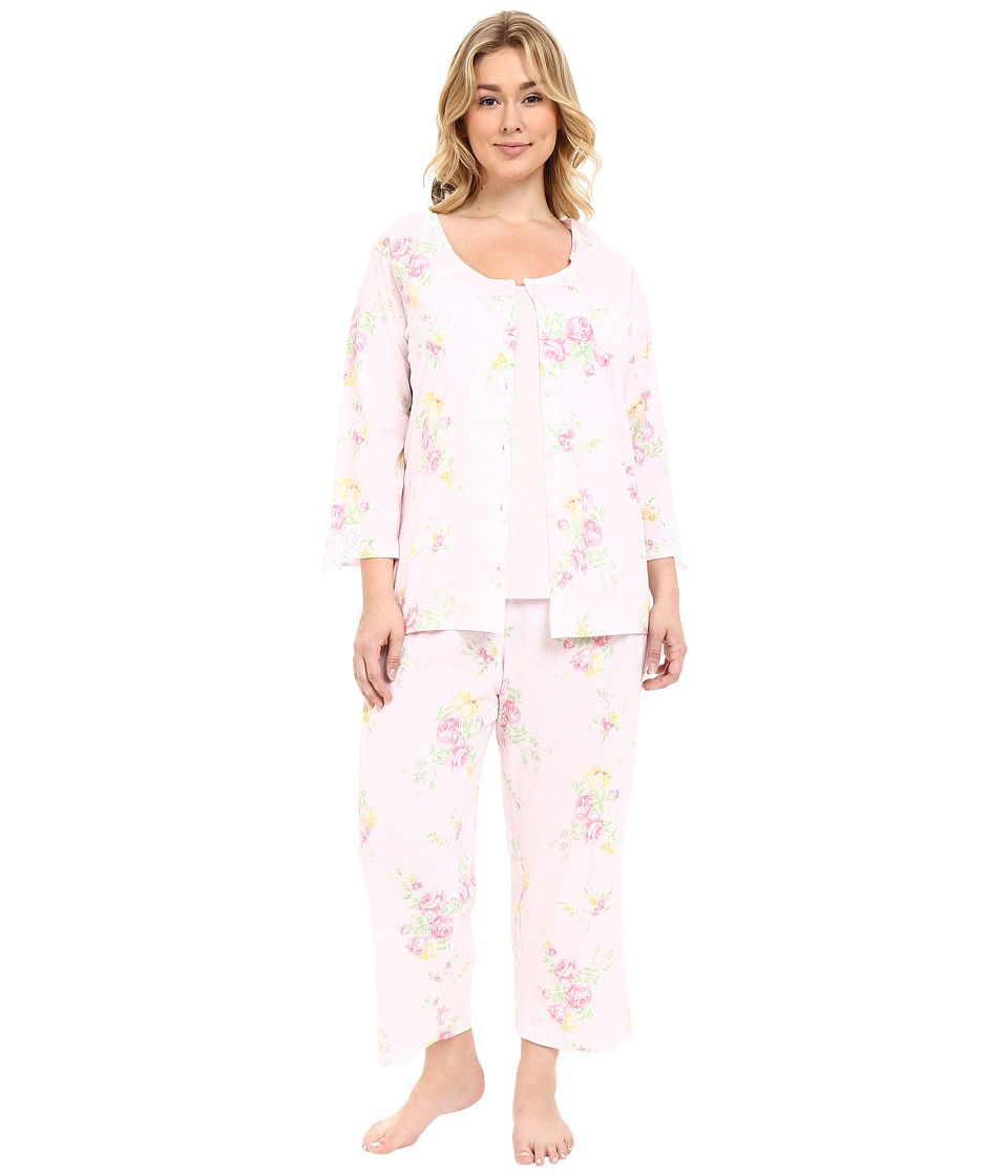 Carole Hochman - Plus Size Three-Piece Capris Pajama Set (Prism Blushed Bouquets) Women's Pajama Sets