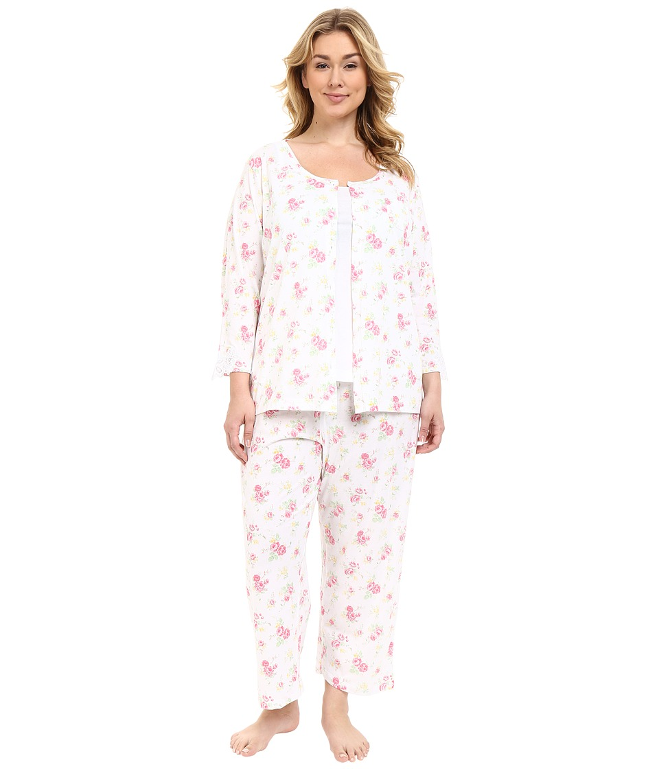 Carole Hochman - Plus Size Three-Piece Capris Pajama Set (Rose Meadow) Women's Pajama Sets