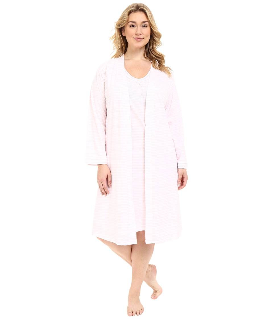 Carole Hochman - Plus Size Robe Gown Set (Pink Stripe) Women's Pajama Sets