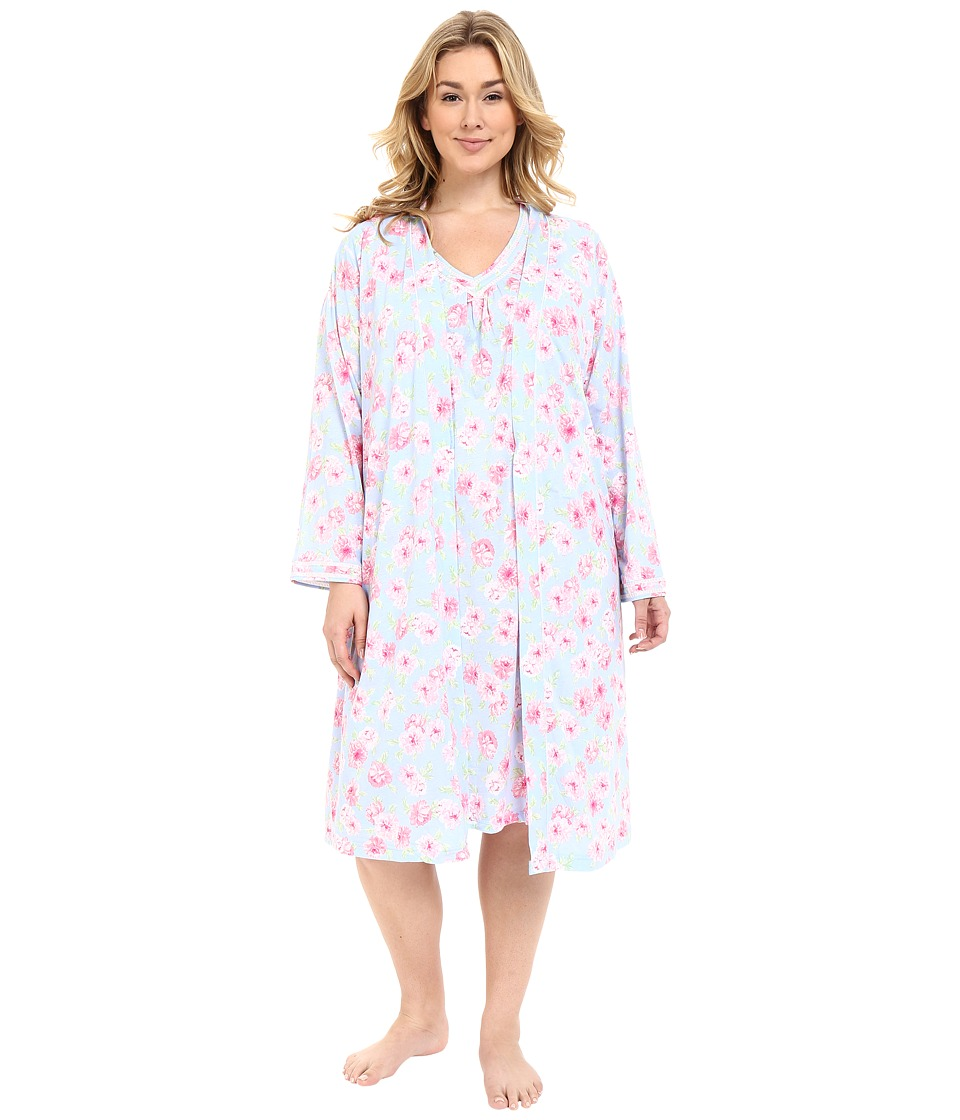 Carole Hochman - Plus Size Robe Gown Set (Peony) Women's Pajama Sets plus size,  plus size fashion plus size appare