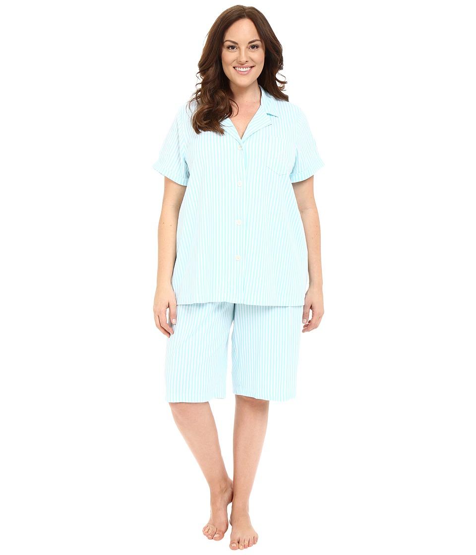 LAUREN Ralph Lauren - Plus Size Bermuda PJ Set (Stripe Turquoise/White) Women's Pajama Sets