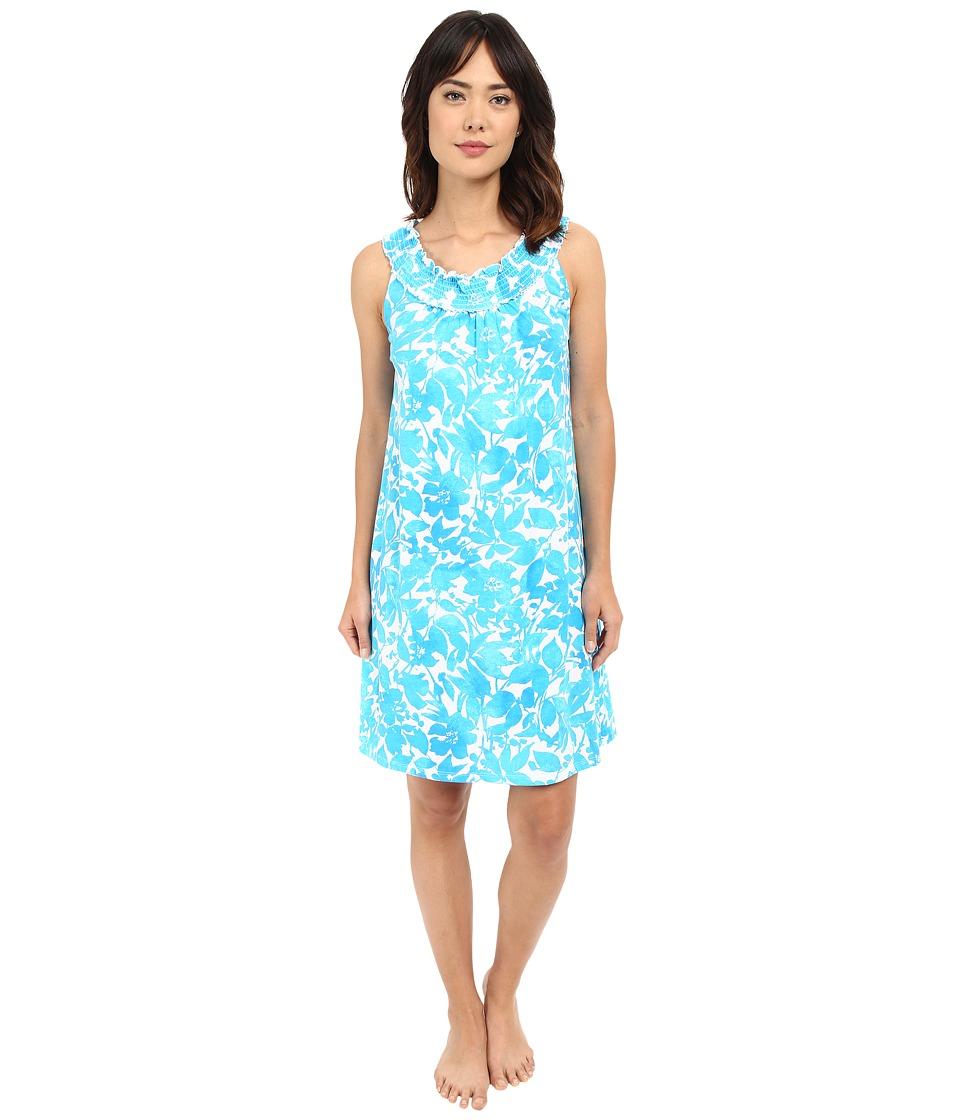 LAUREN Ralph Lauren - Smocked Gown (Floral Turquoise) Women's Pajama