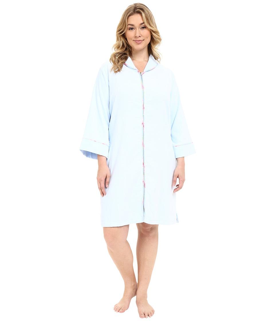 Carole Hochman - Plus Size Terry Velour Zip Robe (Blue Powder) Women's Robe plus size,  plus size fashion plus size appare