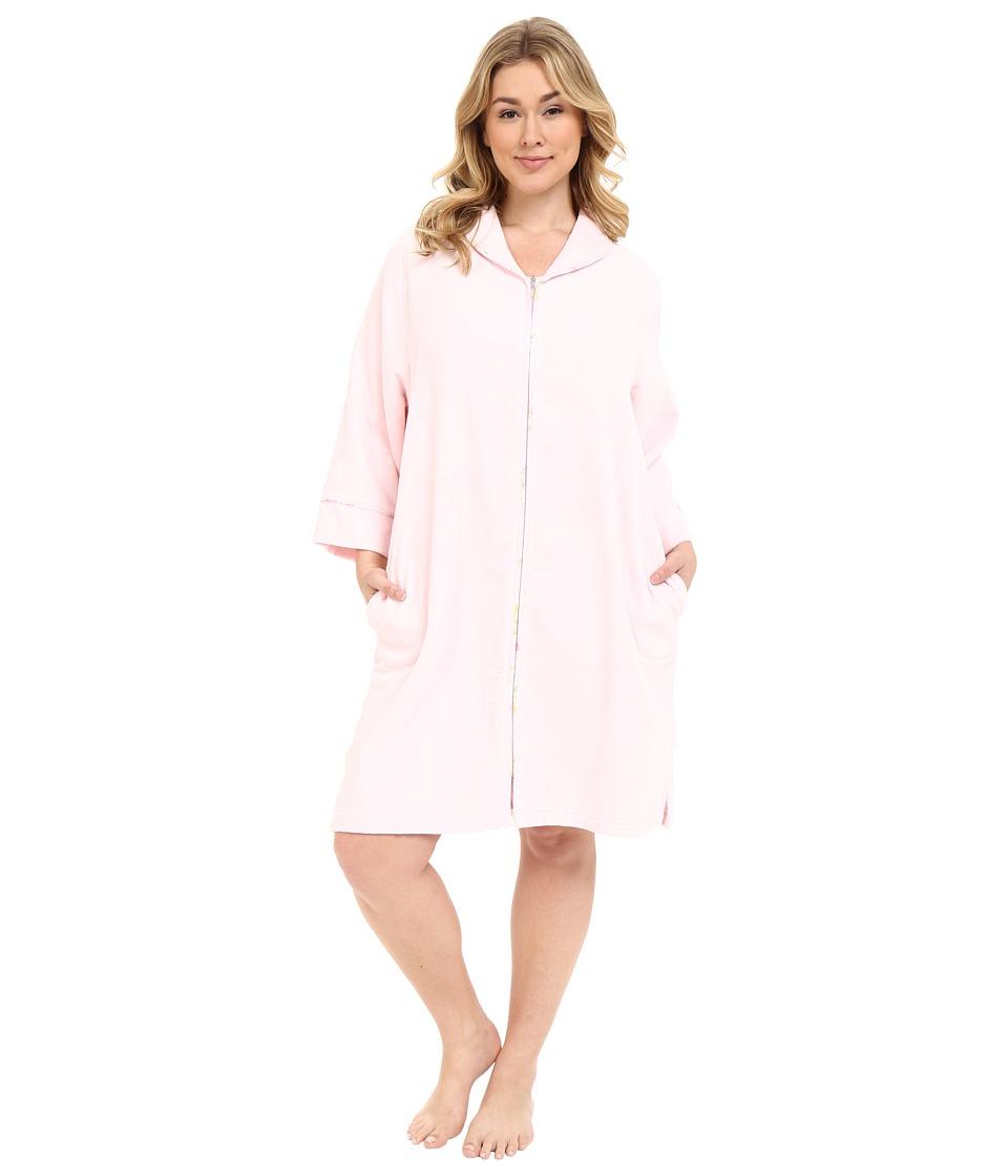 Carole Hochman - Plus Size Terry Velour Zip Robe (Light Pink) Women's Robe plus size,  plus size fashion plus size appare