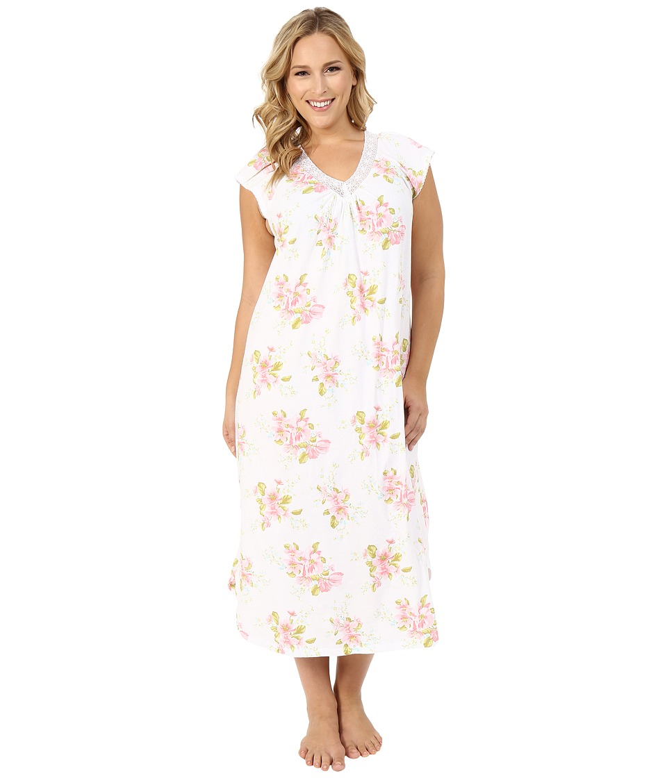 Carole Hochman - Plus Size Floral Long Gown with Lace (Magnolia Blossom) Women's Pajama