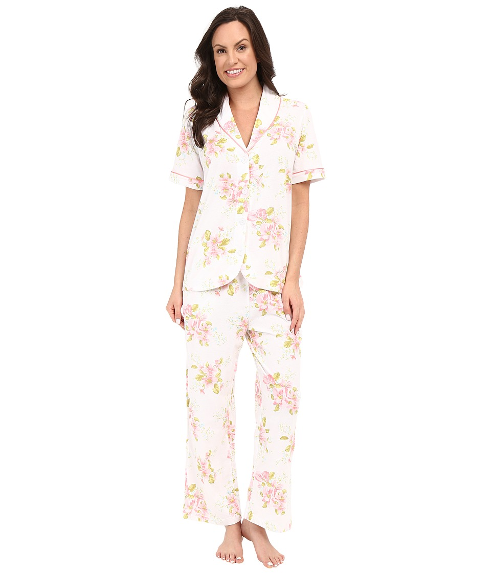 Carole Hochman - Floral Cotton Capris Pajama (Magnolia Blossom) Women's Pajama Sets