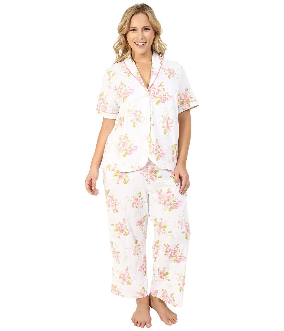 Carole Hochman - Plus Size Floral Cotton Capris Pajama (Magnolia Blossom) Women's Pajama Sets