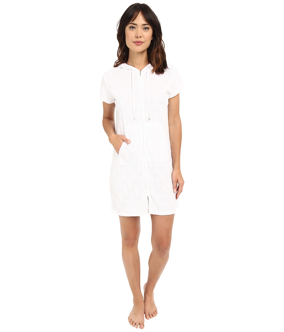 LAUREN Ralph Lauren - Sculpted Baby Terry Zip Front Lounger (White) Women's Pajama