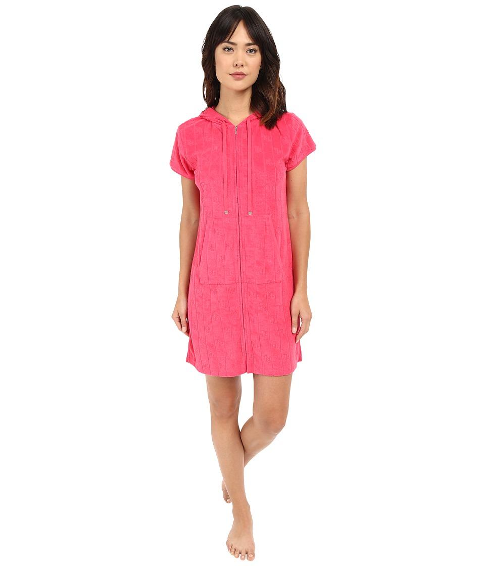 LAUREN Ralph Lauren - Sculpted Baby Terry Zip Front Lounger (Coral) Women's Pajama