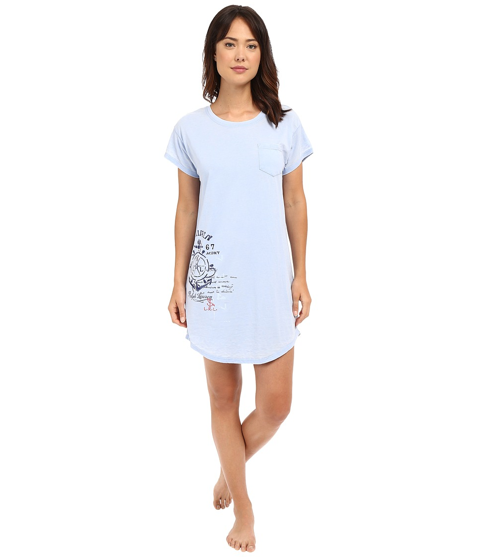 LAUREN Ralph Lauren - Short Sleeve Sleep Tee (Blue) Women's Pajama