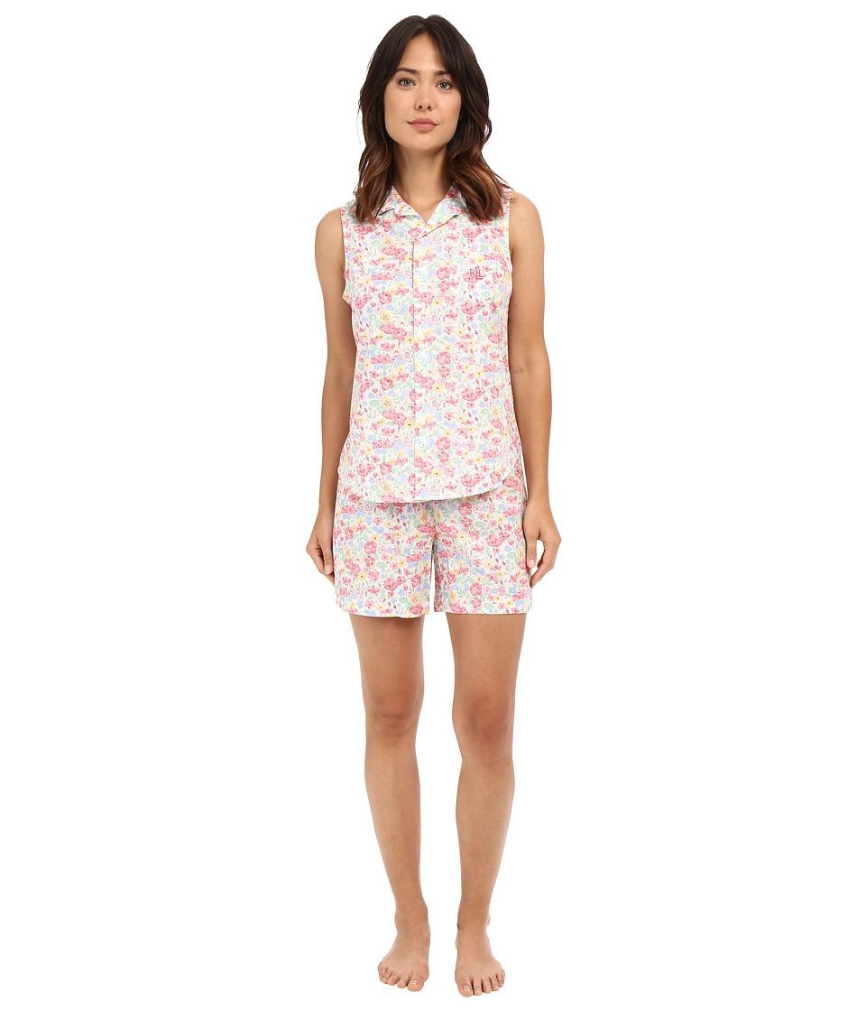LAUREN Ralph Lauren - Sleeveless Cotton Lawn Boxer PJ Set (Floral Multi) Women's Pajama Sets