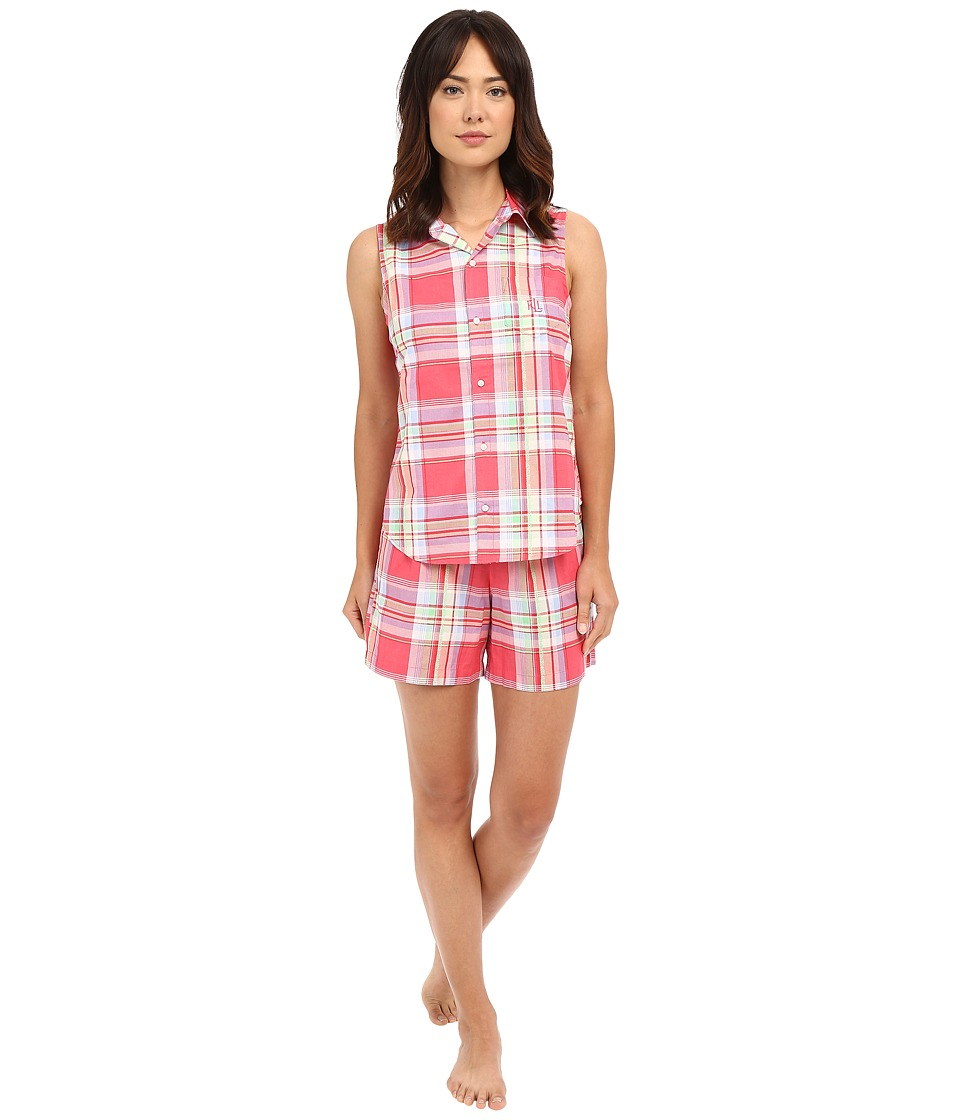 LAUREN Ralph Lauren - Sleeveless Cotton Lawn Boxer PJ Set (Plaid Red/Multi) Women's Pajama Sets