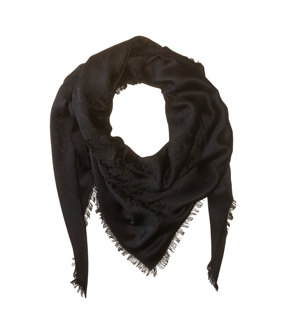 Marc Jacobs - Solid Monogram Logo Shawl (Black) Scarves