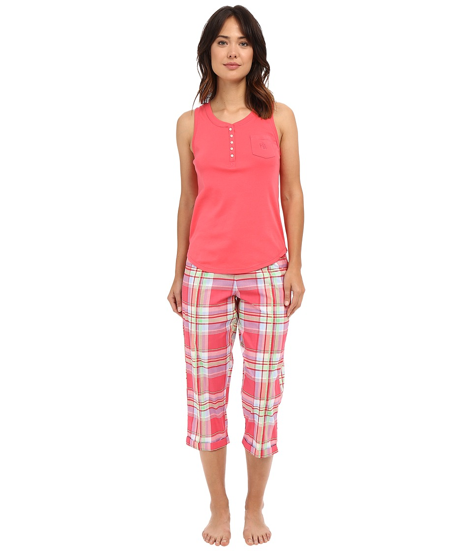 LAUREN Ralph Lauren - Knit Top Woven Capri PJ Set (Plaid Red/Multi) Women's Pajama Sets