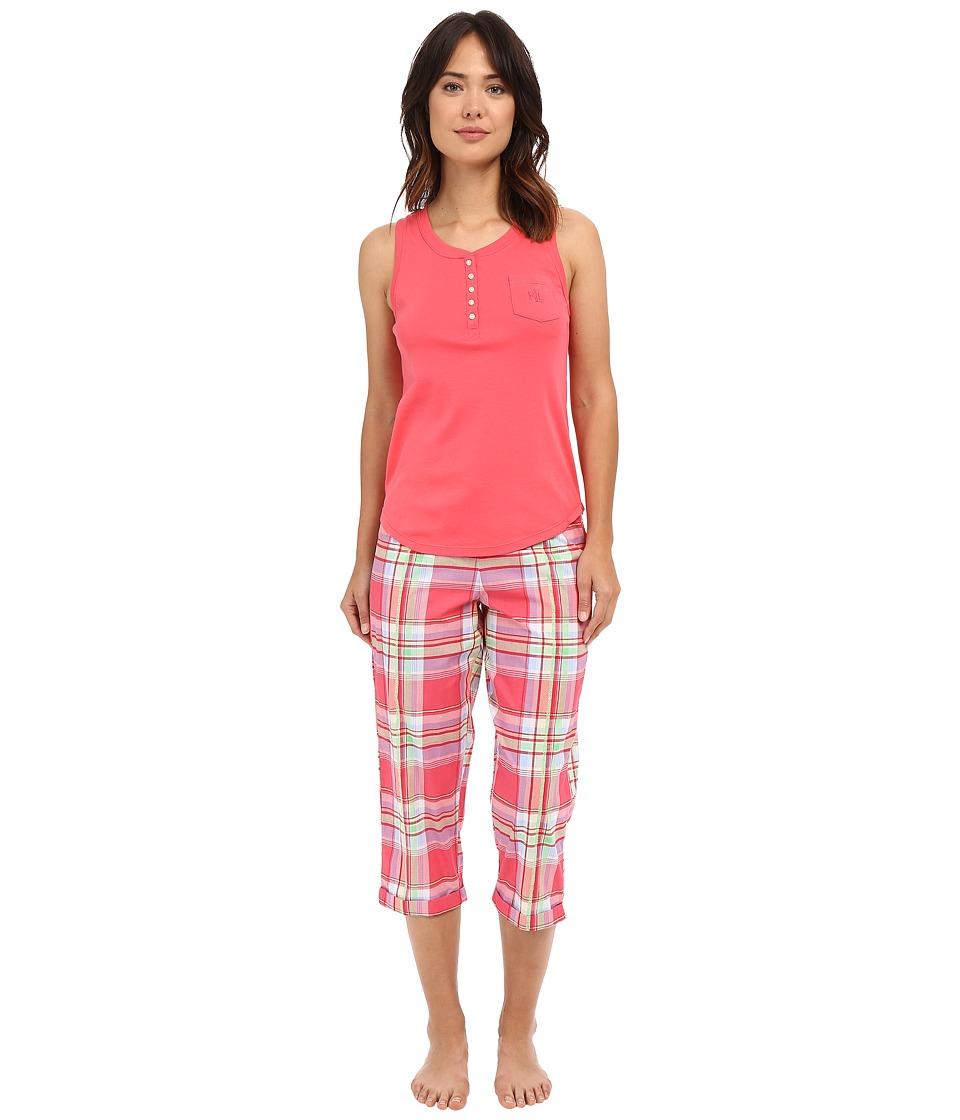 LAUREN Ralph Lauren - Knit Top Woven Capri PJ Set (Plaid Red/Multi) Women's Pajama Sets
