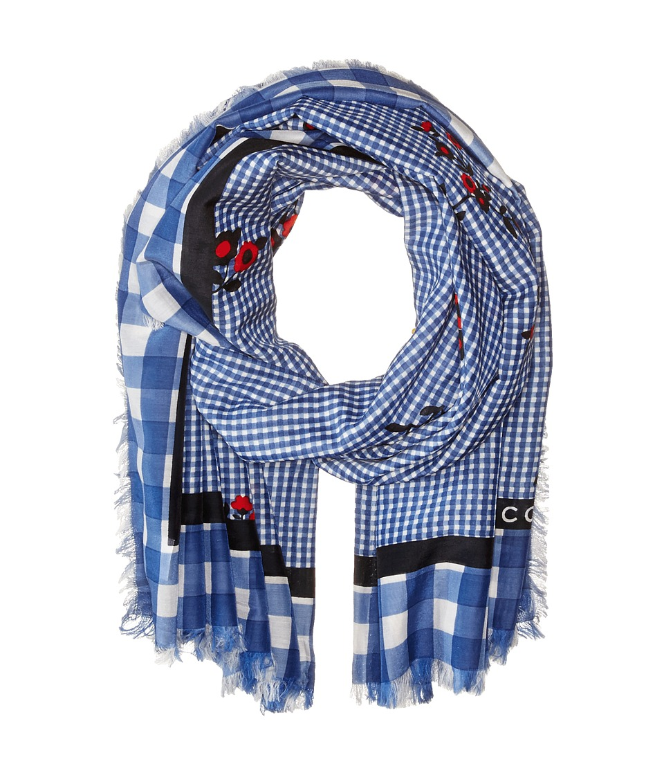 Marc Jacobs - Pop Bouquet Gingham Stole (Country Blue Multi) Scarves