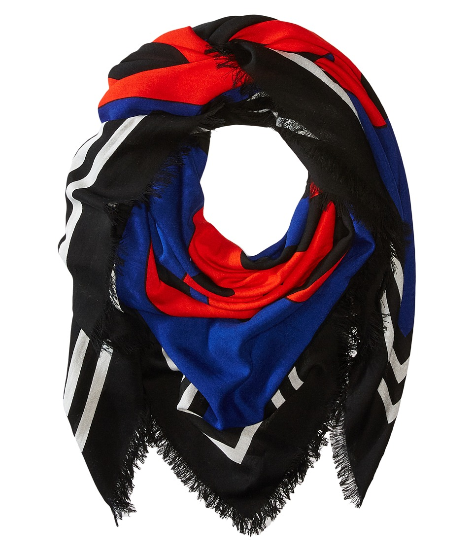 Marc Jacobs - Monogram Flower Shawl (Blue Multi) Scarves