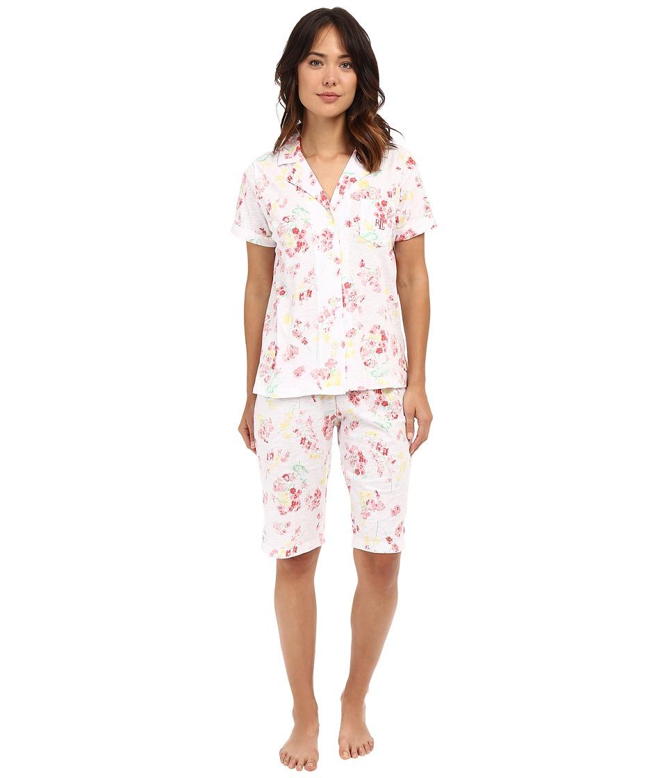 LAUREN Ralph Lauren - Knit Bermuda PJ Set (Floral Coral) Women's Pajama Sets