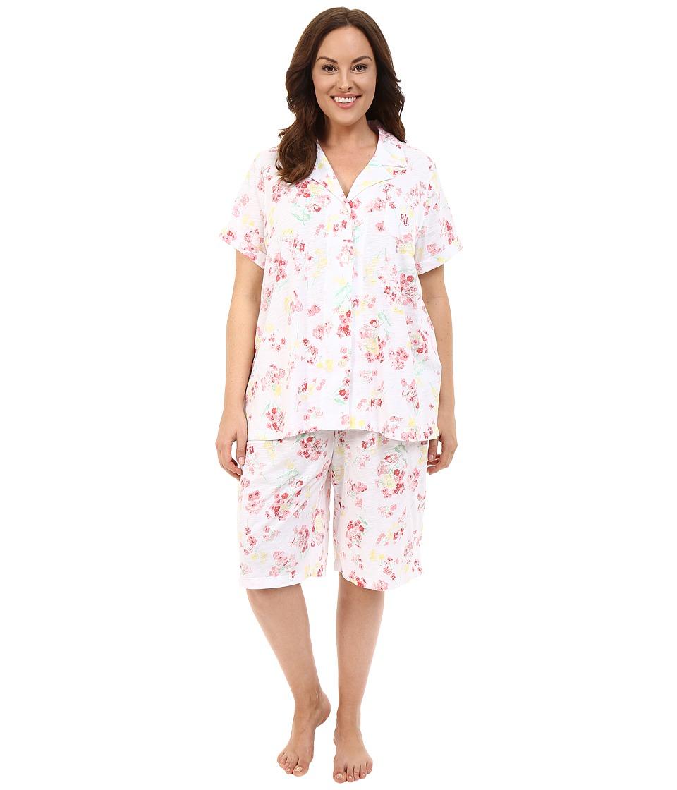 LAUREN Ralph Lauren - Plus Size Knit Bermuda PJ Set (Floral Coral) Women's Pajama Sets