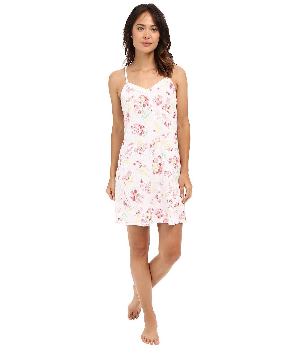 LAUREN Ralph Lauren - Knit Short Gown (Floral Coral) Women's Pajama