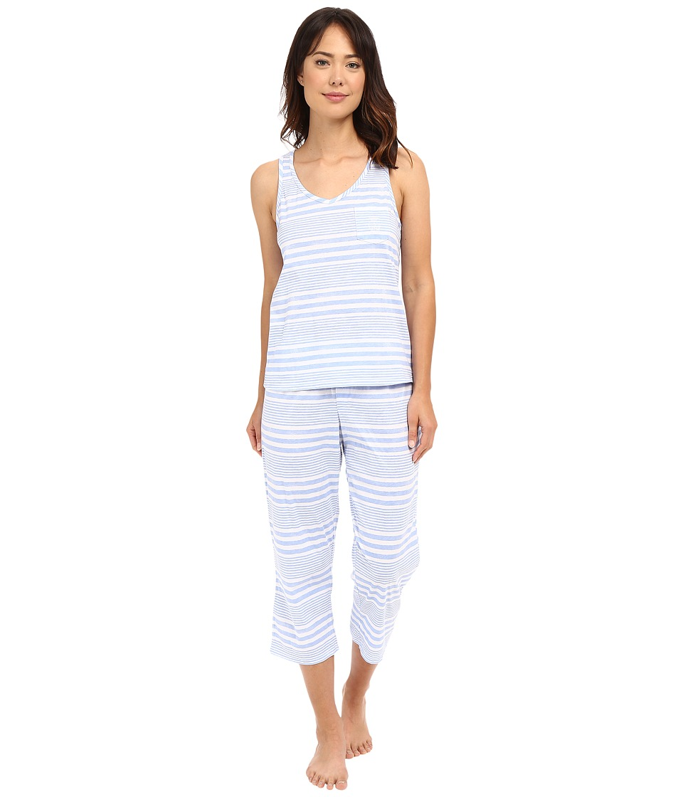 LAUREN Ralph Lauren - Tank Top Capri PJ Set (Wide Stripe Blue) Women's Pajama Sets