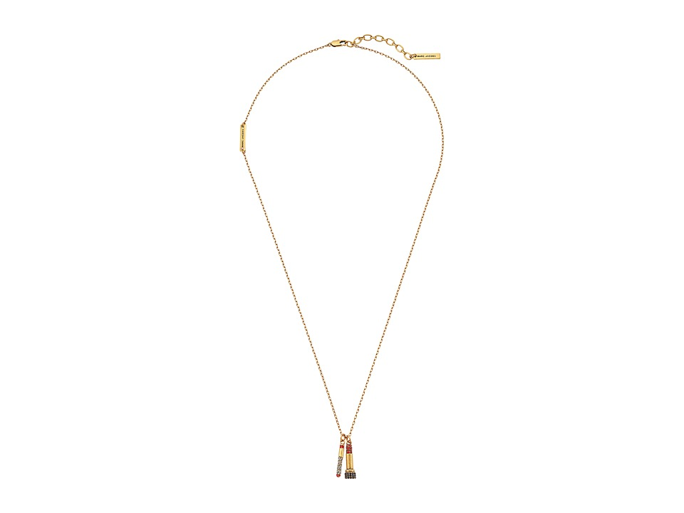 Marc Jacobs - Lipstick Necklace (Crystal/Antique Gold) Necklace