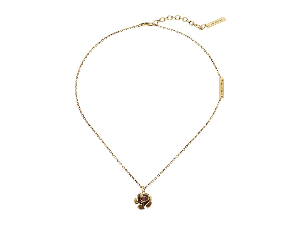 Marc Jacobs - Small Flower Pendant Necklace (Red/Antique Gold) Necklace