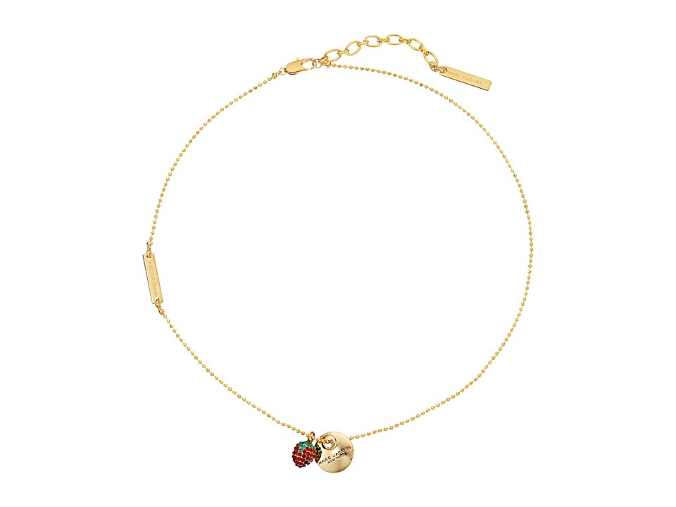 Marc Jacobs - Strawberry Coin Pendant Necklace (Gold) Necklace