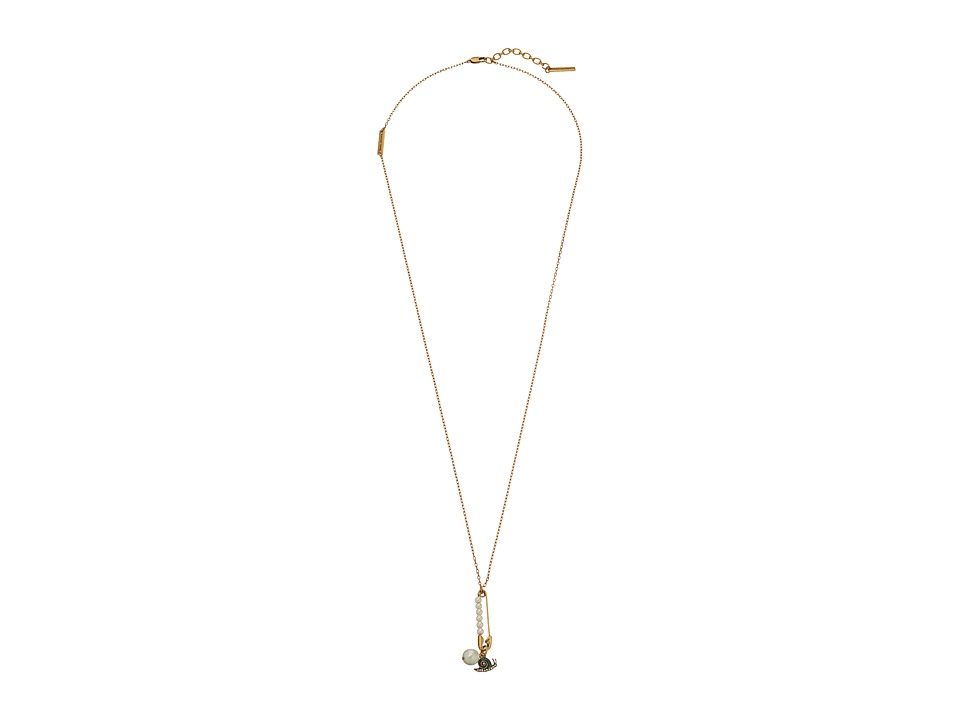 Marc Jacobs - Safety Snail Pendant Necklace (Crystal/Antique Gold) Necklace