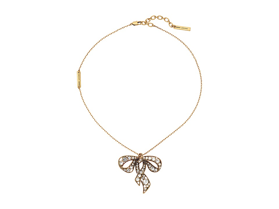 Marc Jacobs - Bow Necklace (Crystal/Antique Gold) Necklace