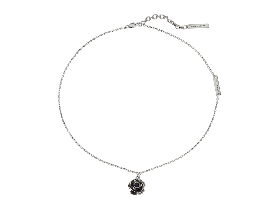 Marc Jacobs - Small Flower Pendant Necklace (Jet/Antique Silver) Necklace