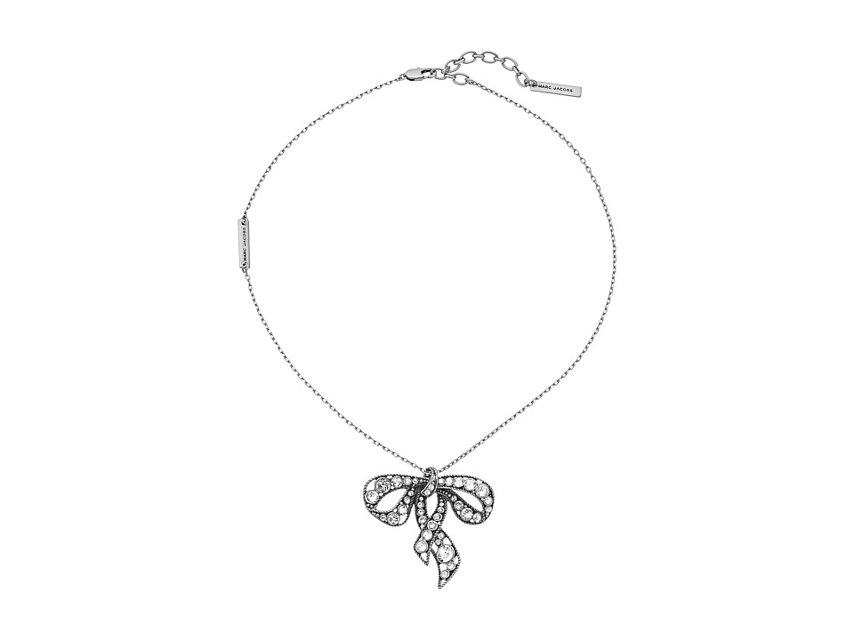 Marc Jacobs - Bow Necklace (Jet/Antique Silver) Necklace