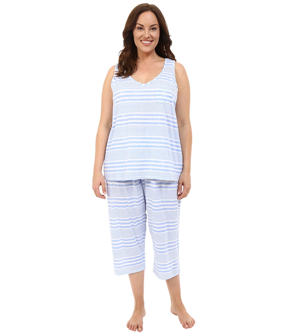 LAUREN Ralph Lauren - Plus Size Tank Top Capri PJ Set (Wide Stripe Blue) Women's Pajama Sets