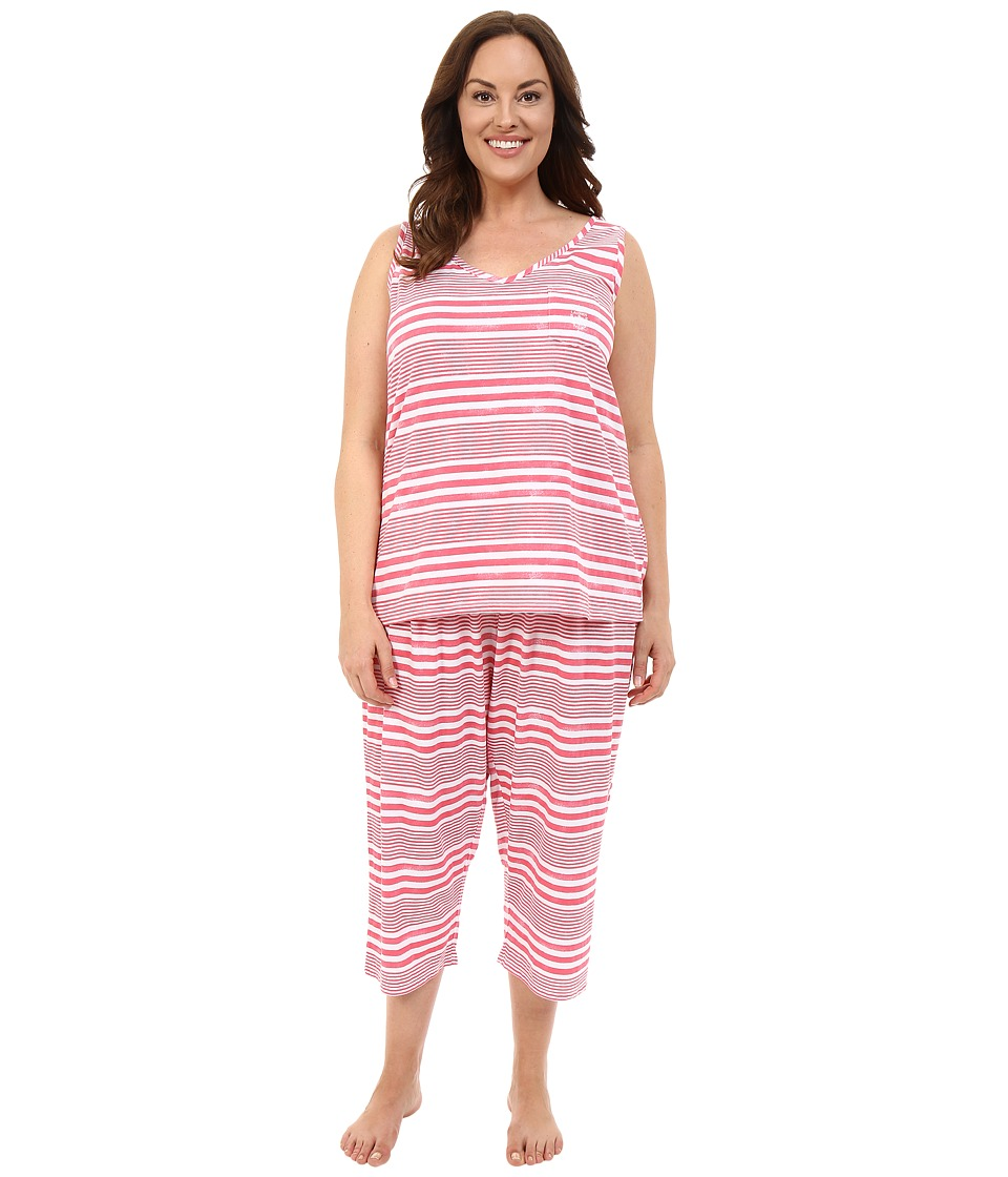 LAUREN Ralph Lauren - Plus Size Tank Top Capri PJ Set (Wide Stripe Red) Women's Pajama Sets