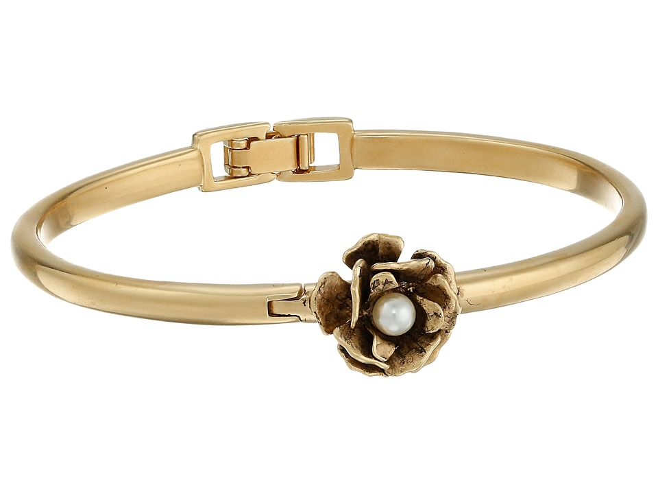 Marc Jacobs - Flower Hinge Cuff Bracelet (Cream/Antique Gold) Bracelet