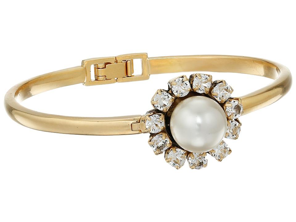 Marc Jacobs - Crystal Flower Hinge Cuff Bracelet (Cream/Antique Gold) Bracelet
