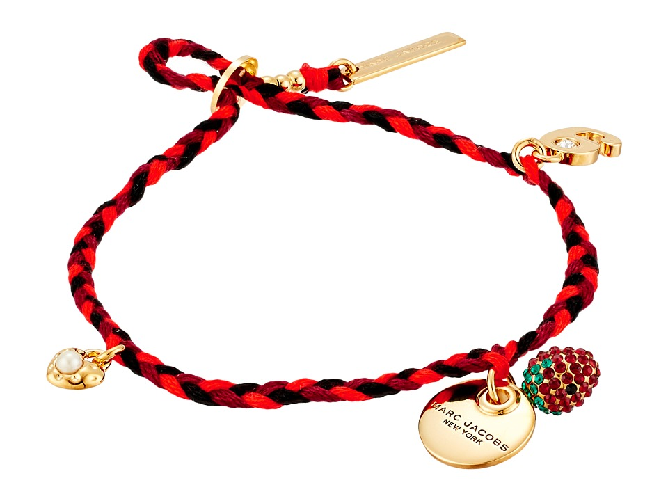 Marc Jacobs - MJ Coin Fine Macrame Bracelet (Black/Gold) Bracelet