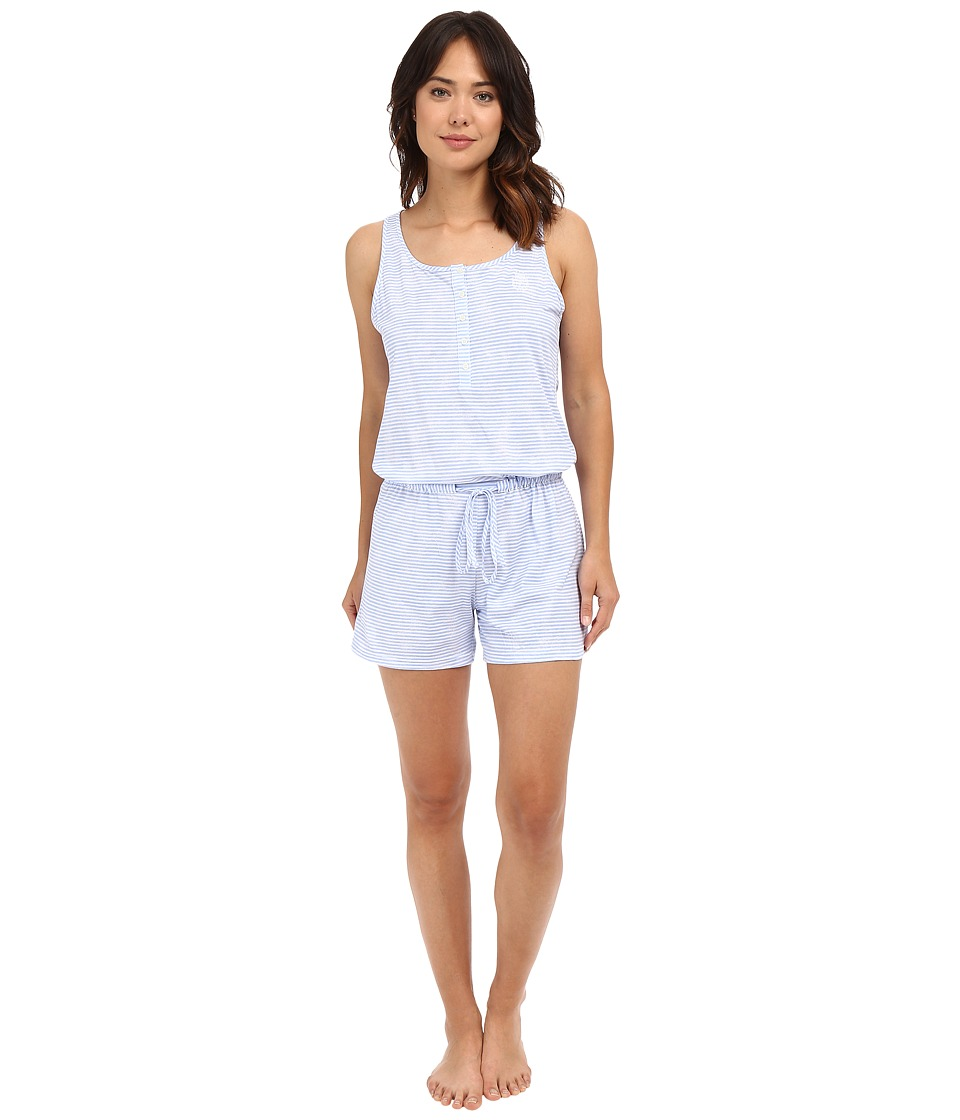 LAUREN Ralph Lauren - Knit Romper (Narrow Stripe Blue) Women's Pajama Sets