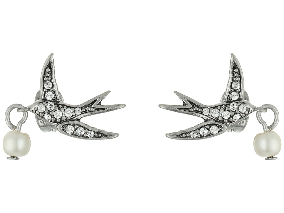 Marc Jacobs - Pearl Swallow Studs Earrings (Cream/Antique Silver) Earring