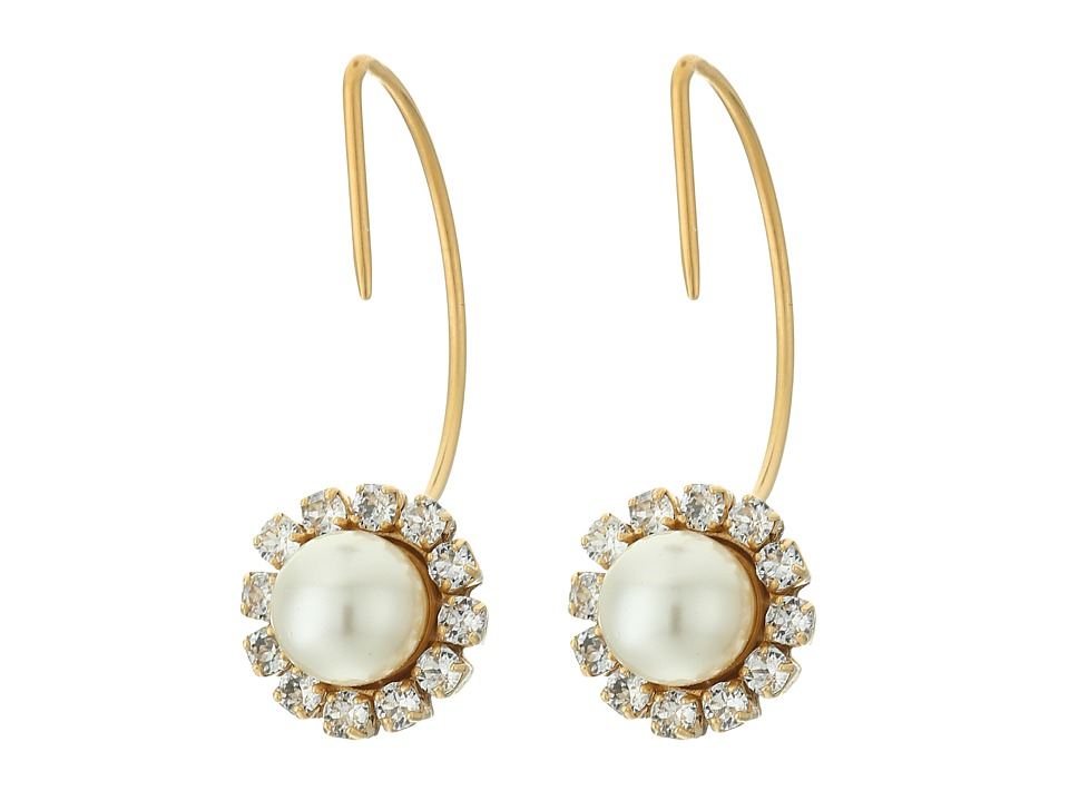 Marc Jacobs - Crystal Pearl Hoops Earrings (Cream/Antique Gold) Earring