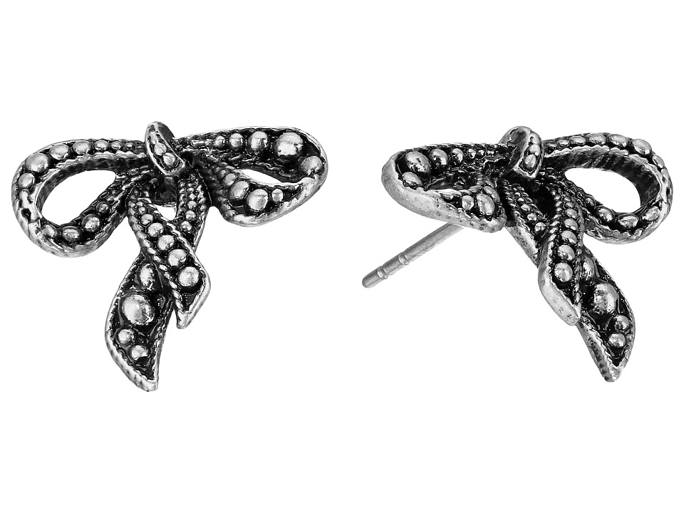 Marc Jacobs - Small New Bow Studs Earrings (Antique Silver) Earring