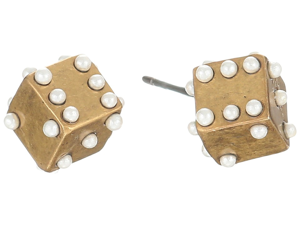 Marc Jacobs - Dice Studs Earrings (Antique Gold) Earring