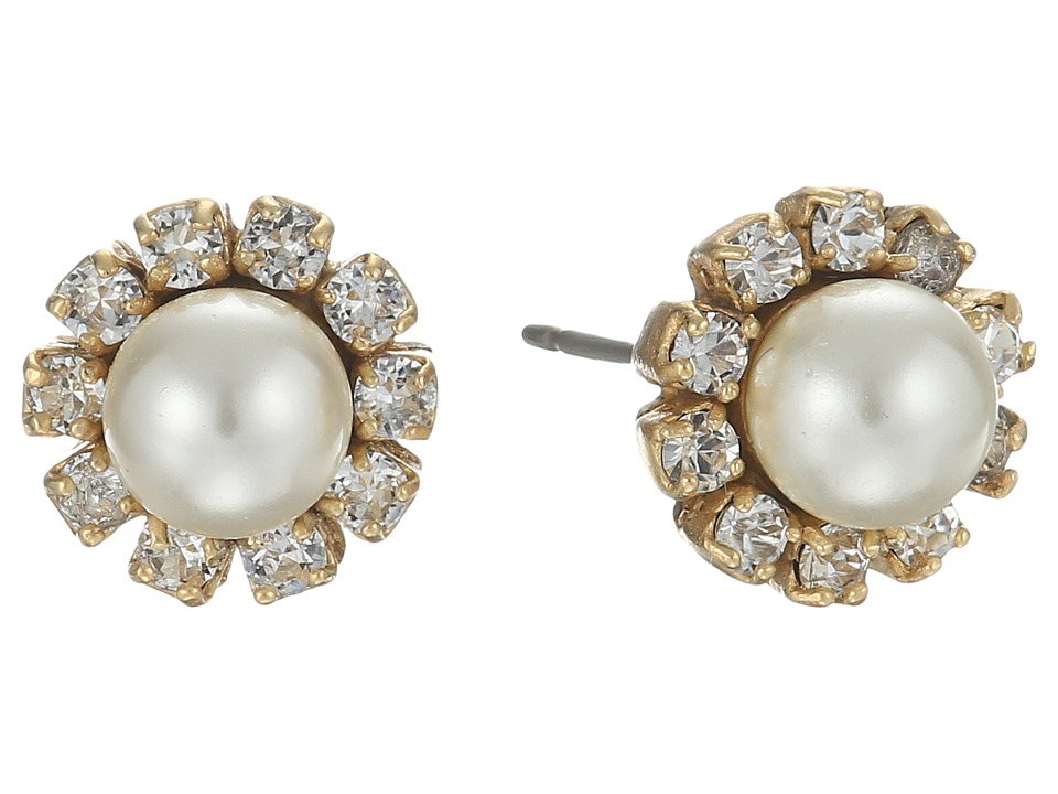 Marc Jacobs - Crystal Flower Studs Earrings (Cream/Antique Gold) Earring