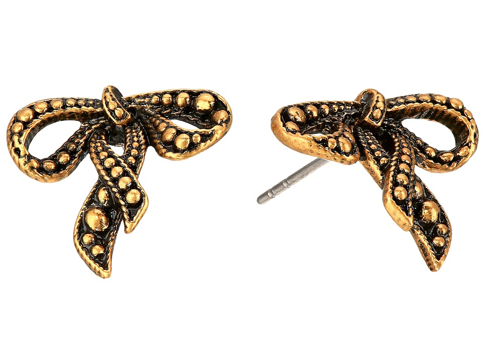 Marc Jacobs - Small New Bow Studs Earrings (Antique Gold) Earring