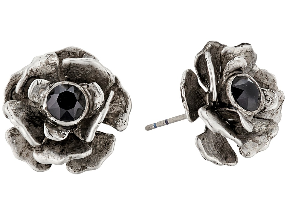 Marc Jacobs - Flower Studs Earrings (Jet/Antique Silver) Earring