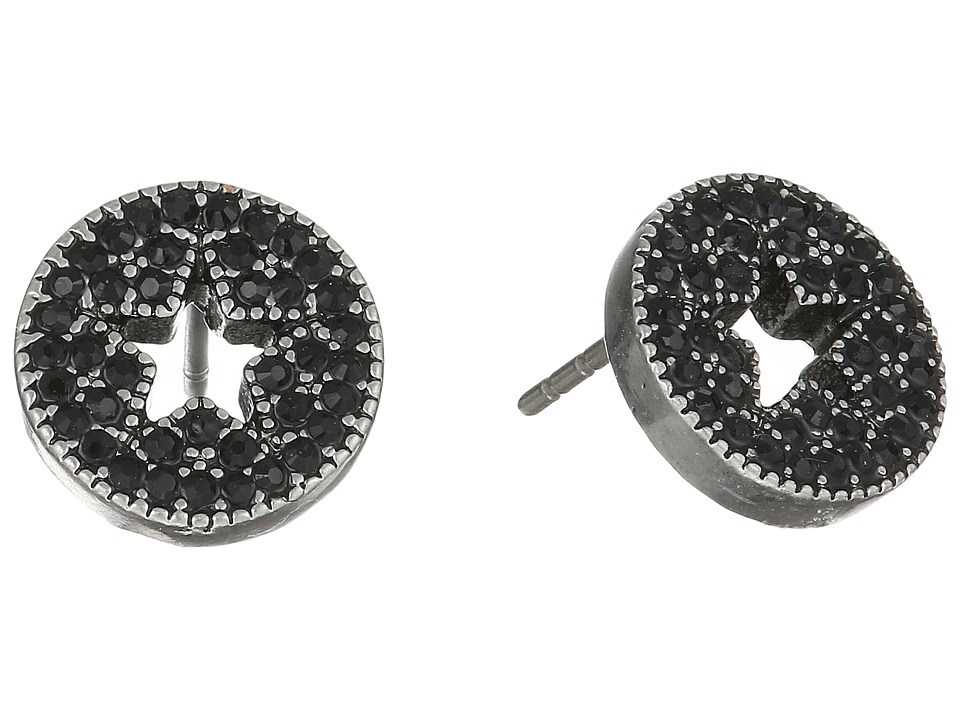 Marc Jacobs - Pave Star Studs Earrings (Jet/Antique Silver) Earring