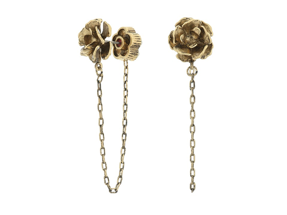 Marc Jacobs - Chain Flower Studs Earrings (Cream/Antique Gold) Earring